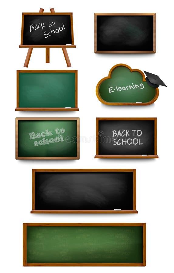 Ensemble de tableaux et de schoolboards illustration de vecteur