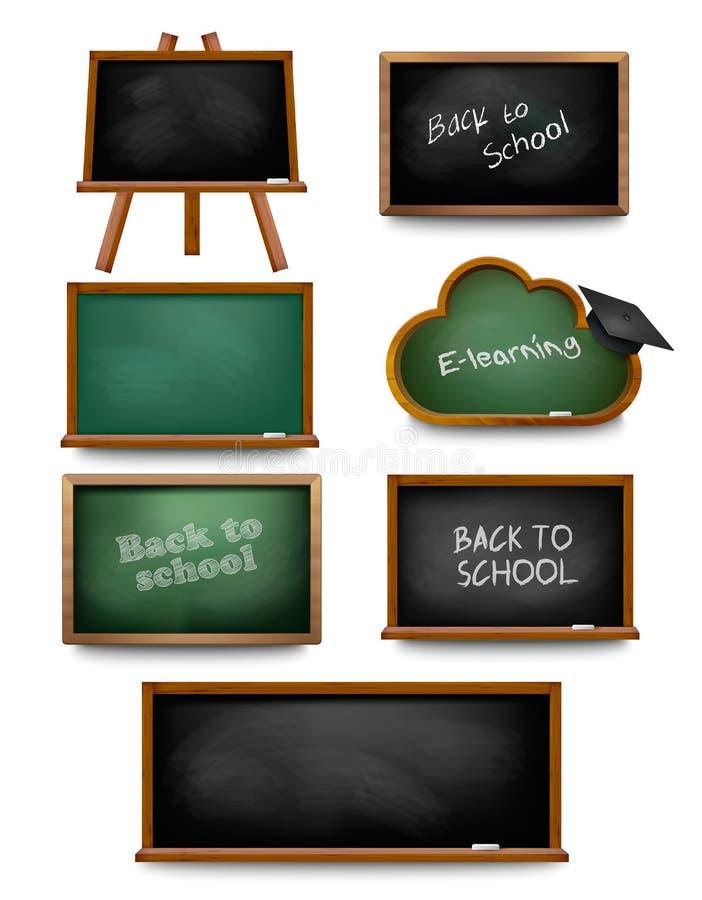 Ensemble de tableaux noirs de panneau d'école De nouveau à l'école illustration de vecteur