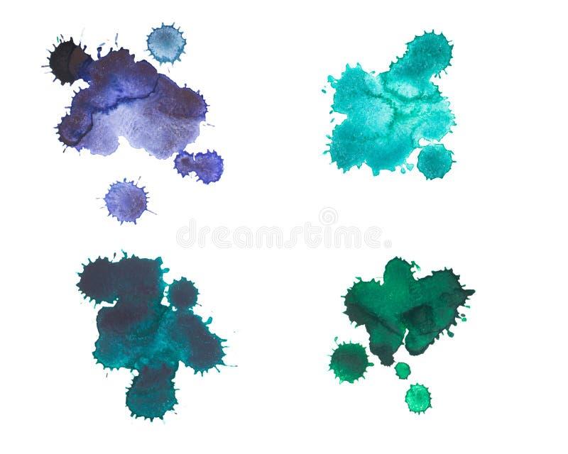 Ensemble de tache d'aquarelle, baisse, d'isolement sur le fond blanc illustration stock