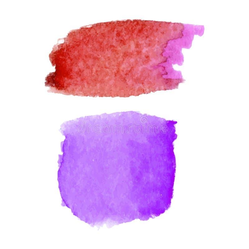 Ensemble de taches abstraites Couleurs rouges et pourpres Contexte créatif lumineux Texture d'aquarelle avec des courses de bross illustration stock