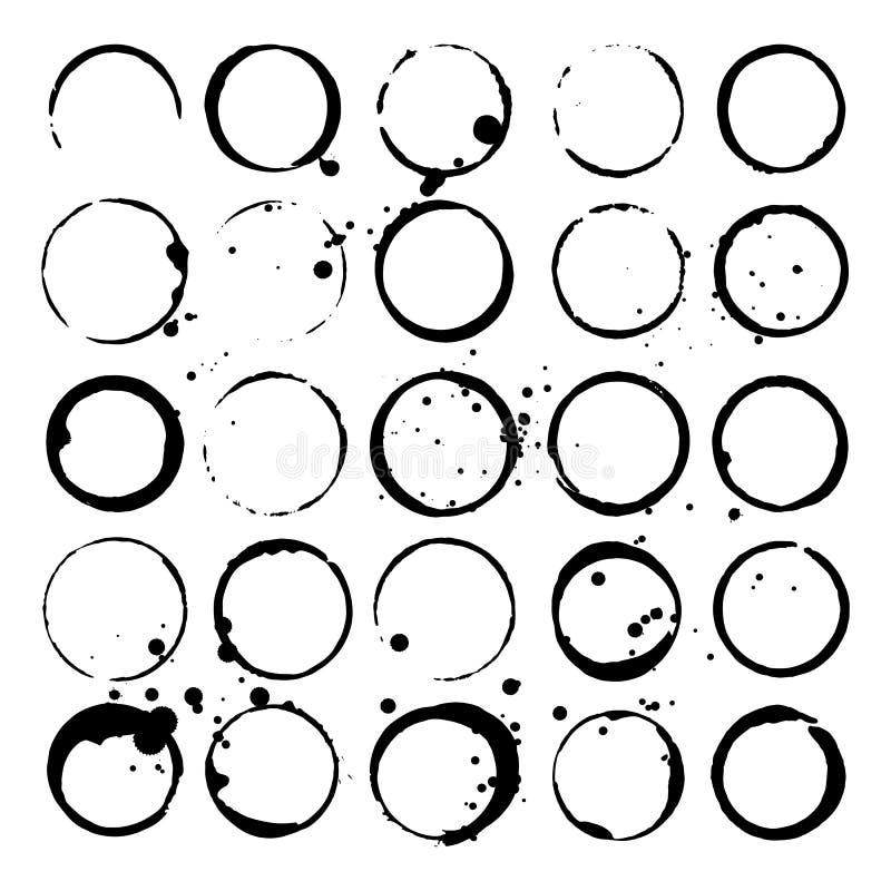 Ensemble de taches de vin ou de café Taches et éclaboussures Silhouettes noires Illustration de vecteur illustration stock