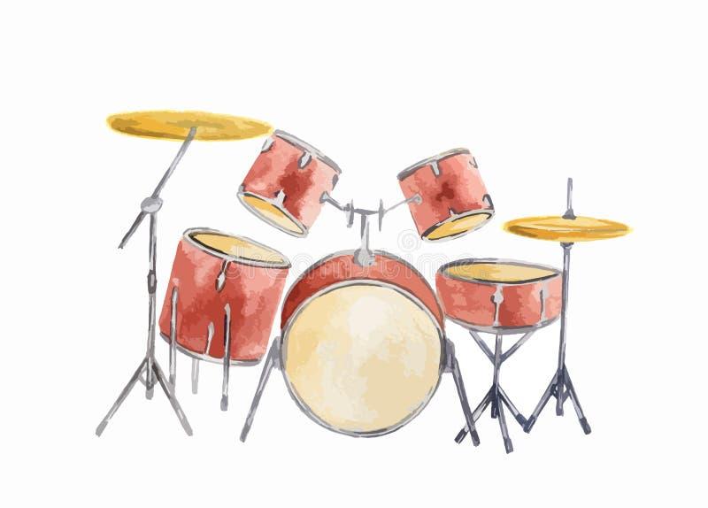 Ensemble de tambour d'aquarelle illustration libre de droits