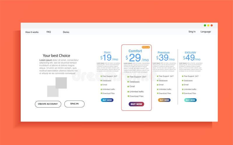 Ensemble de tarifs d'offre bannière de vecteur d'ux d'ui pour le Web APP ensemble de table d'évaluation, ordre, boîte, bouton illustration stock