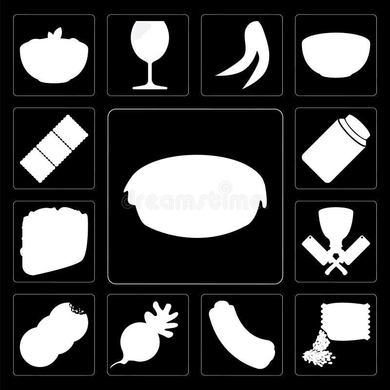 Ensemble de tarte, graines, hot-dog, radis, biscuits, boucher, Taco, pierre à aiguiser illustration stock