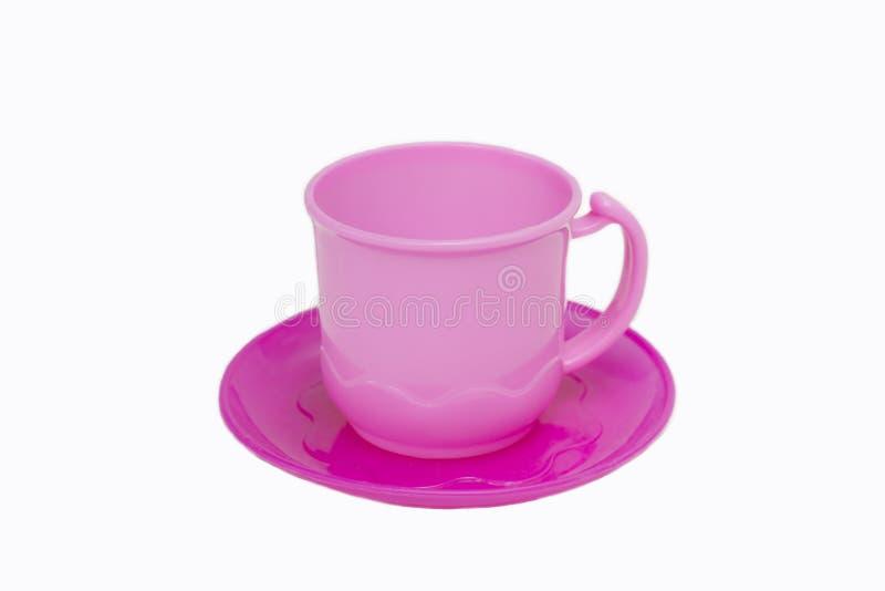 Ensemble de tasse de café de plastique pour des enfants de jouet photographie stock libre de droits