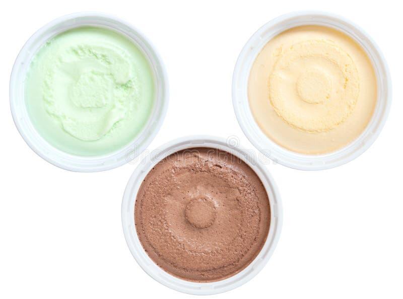 Ensemble de tasse de crème glacée de vue supérieure d'isolement sur le fond blanc image libre de droits