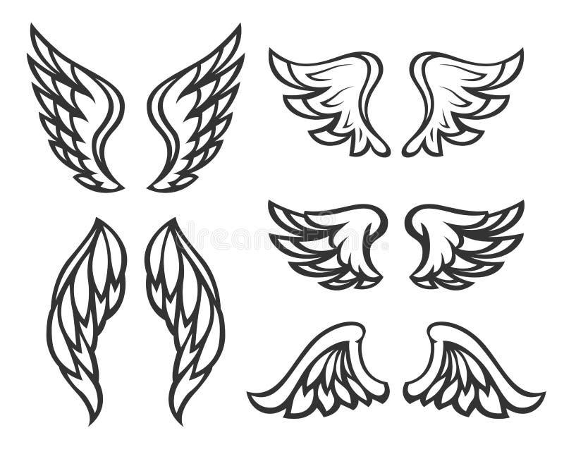 Ensemble de tatouage d'ailes illustration de vecteur
