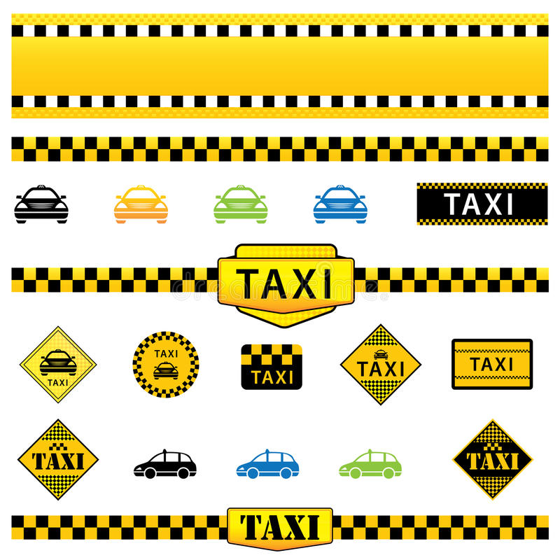 Ensemble de taxi illustration libre de droits