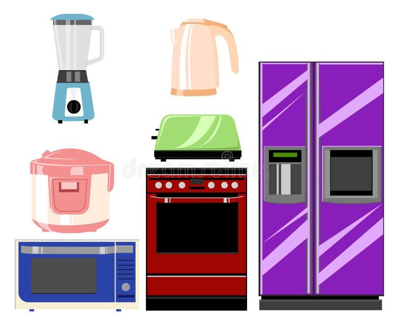 Ensemble de techniques de cuisine de ménage : Micro-onde et four, broyeur Retrait de vecteur Illustration de vecteur dans le styl illustration stock