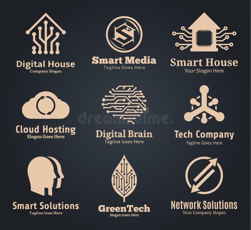 Ensemble de technologie de vecteur, de réseau et de logo de l'informatique illustration de vecteur