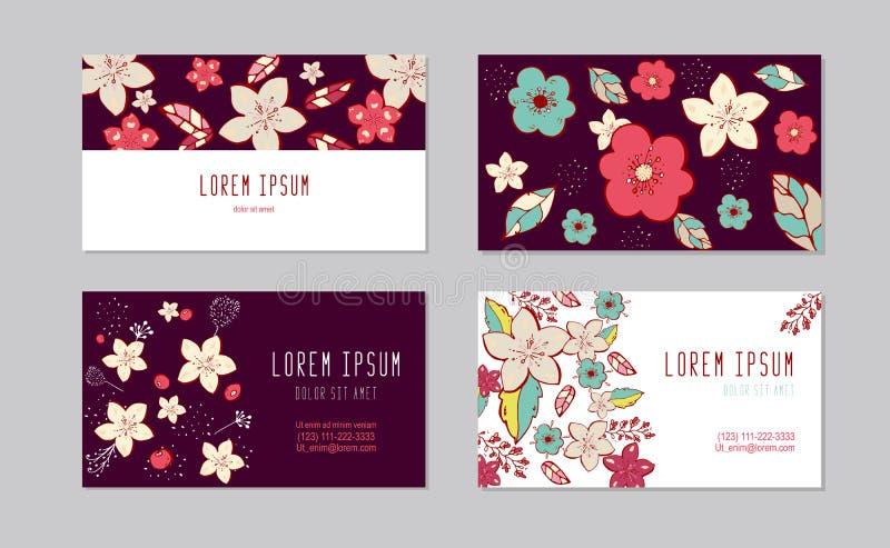Ensemble de temlpates horizontaux de cartes de visite d'affaires Modèle de vintage dans le style moderne avec la fleur de griffon illustration stock