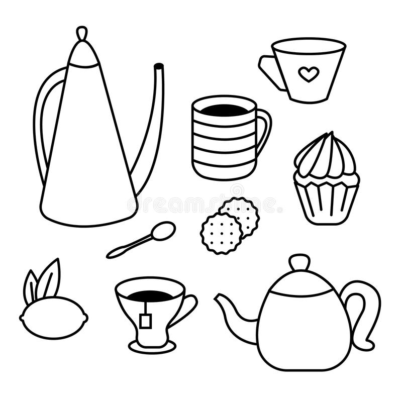 Ensemble de temps de thé de pots de thé, de tasses de café, de gâteaux, de petits pains, de casse-croûte et de desserts Livre de  illustration libre de droits