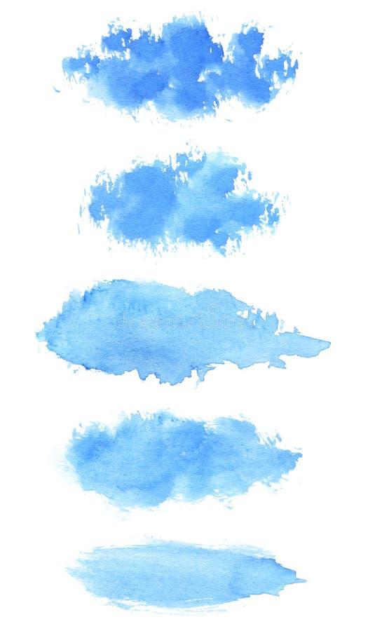 Ensemble de textures bleues peintes à la main de course de brosse d'aquarelle illustration libre de droits