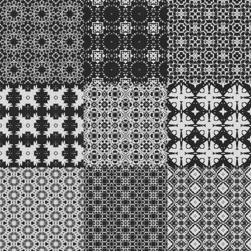 Ensemble de textures produites sans couture de dentelle de rideau illustration stock