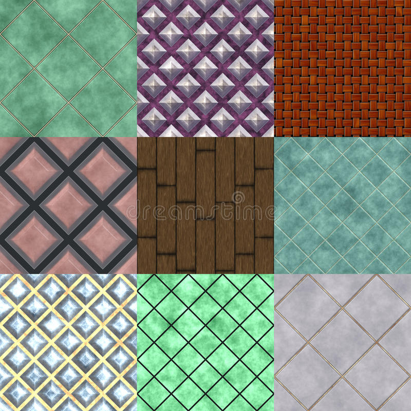 Ensemble de textures produites sans couture de plancher illustration de vecteur