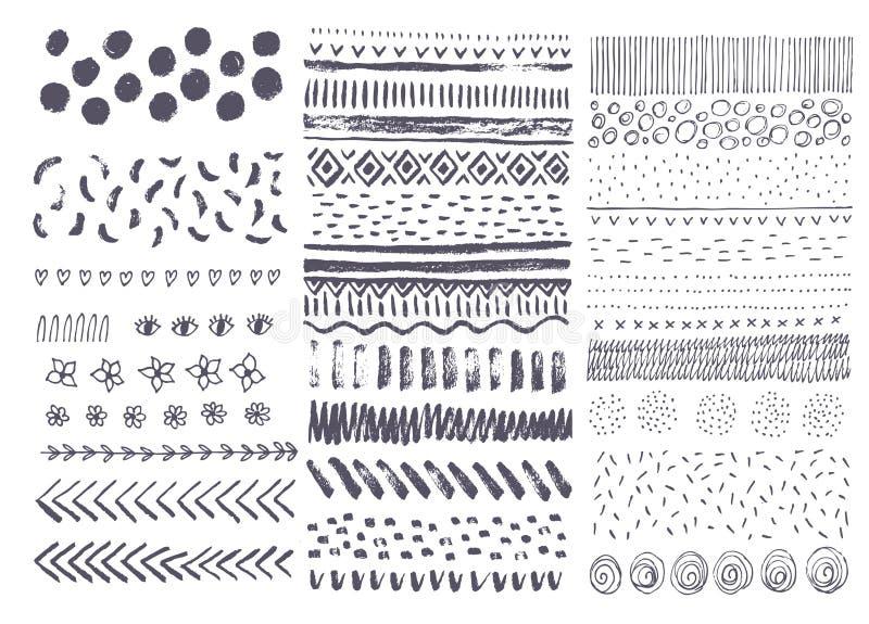 Ensemble de textures tirées par la main d'encre de vecteur collection d'éléments illustration de vecteur
