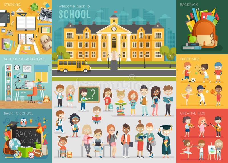 Ensemble de thème d'école De nouveau à l'école, au lieu de travail, aux enfants d'école et à transhorizon illustration libre de droits