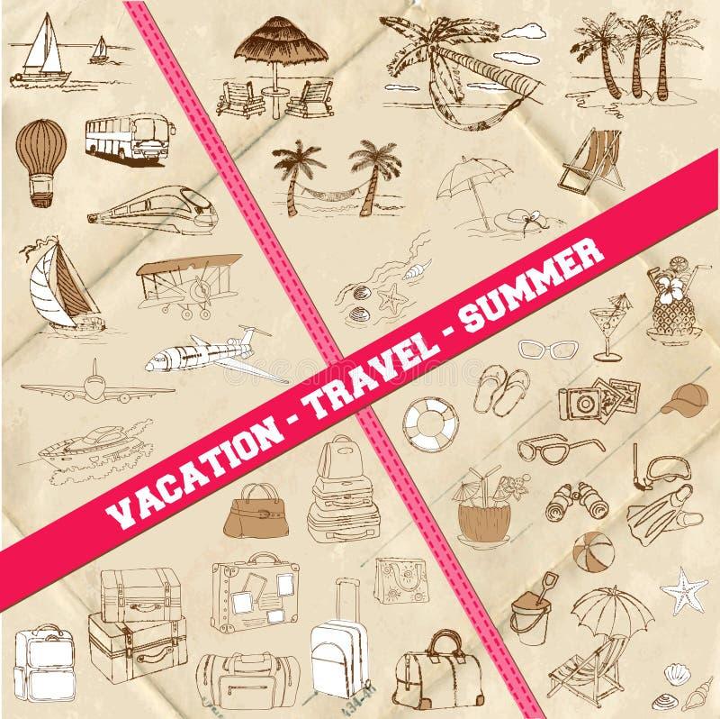 Ensemble de thème de voyage, d'été et de vacances illustration de vecteur