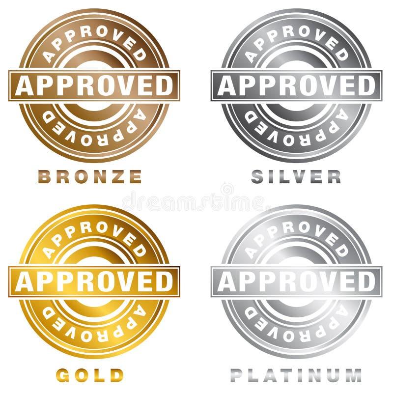 Ensemble de timbre approuvé par platine argenté en bronze d'or illustration libre de droits