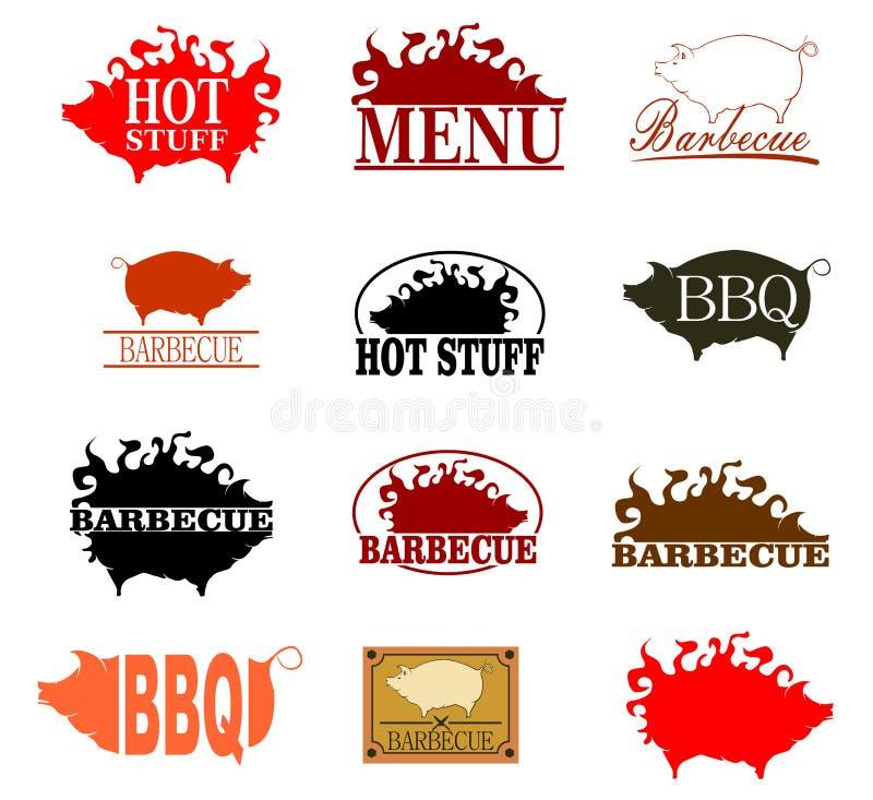 Ensemble de timbre de barbecue illustration stock