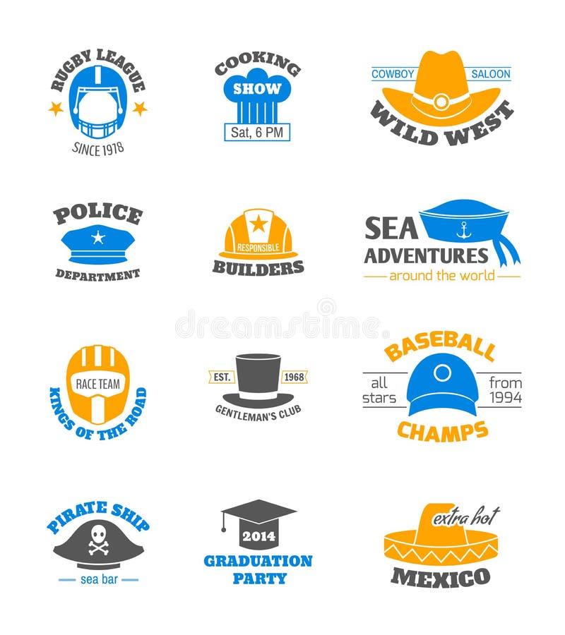 Ensemble de timbre de chapeau illustration de vecteur