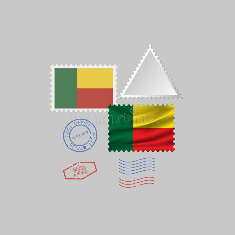 Ensemble de timbre-poste de drapeau du BÉNIN, d'isolement sur le fond gris, illustration de vecteur 10 ENV illustration de vecteur
