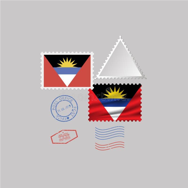 Ensemble de timbre-poste de drapeau de l'ANTIGUA-ET-BARBUDA, d'isolement sur le fond gris, illustration de vecteur illustration de vecteur