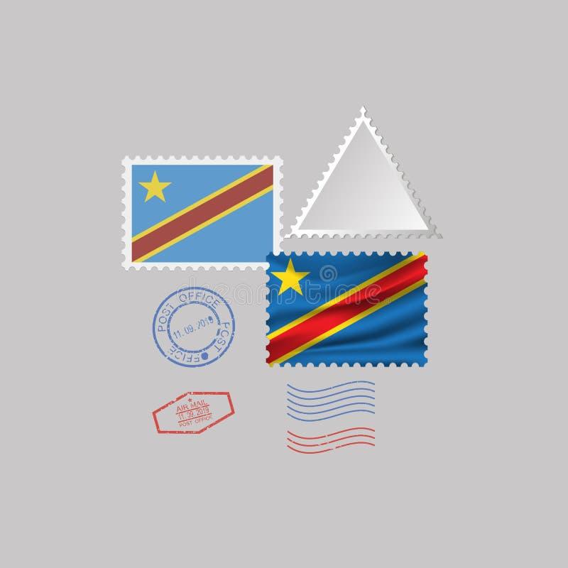 Ensemble de timbre-poste de drapeau de la RÉPUBLIQUE DÉMOCRATIQUE DU CONGO, d'isolement sur le fond gris, illustration de vecteur illustration stock