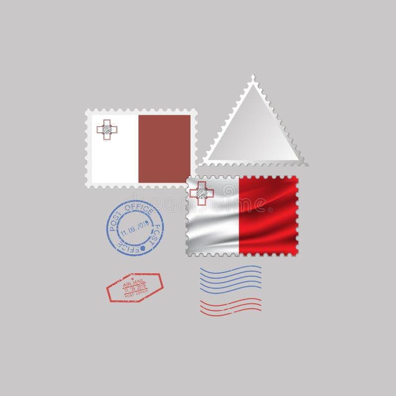 Ensemble de timbre-poste de drapeau de MALTE, d'isolement sur le fond gris, illustration de vecteur 10 ENV illustration libre de droits