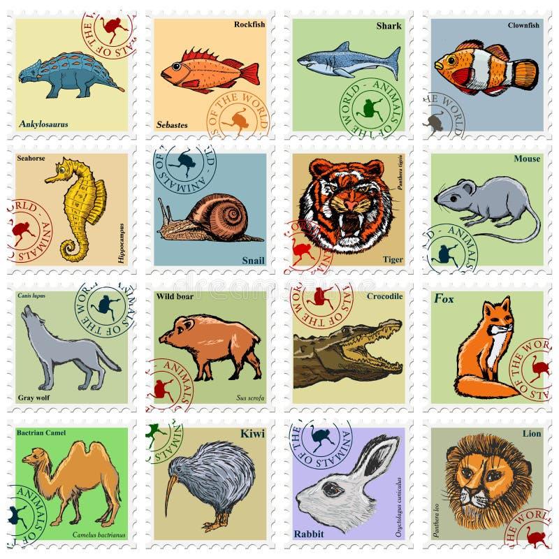 Ensemble de timbres avec différents animaux illustration stock