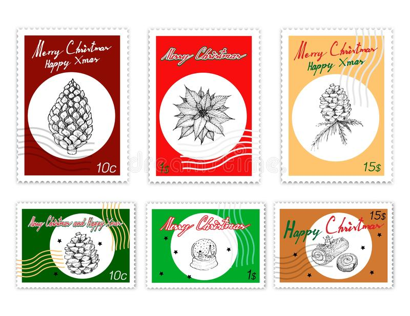 Ensemble de timbres de courrier de beaux articles de Joyeux Noël illustration stock