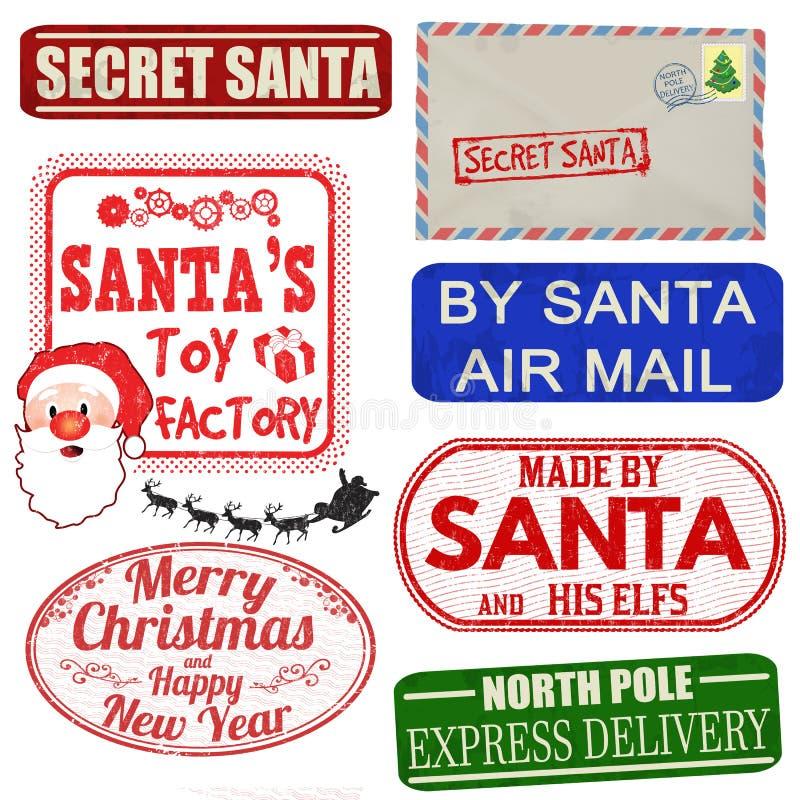 Ensemble de timbres et de labels d'isolement de Noël illustration de vecteur