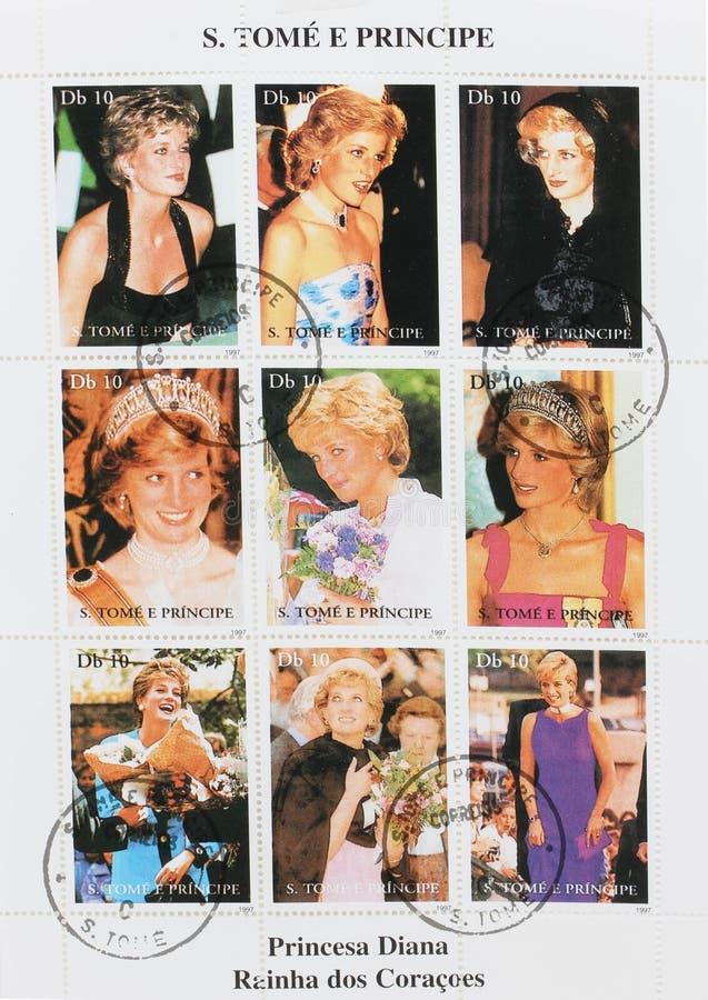Ensemble de timbres montrant neuf timbres avec des photos de Diana Princess du Pays de Galles photographie stock libre de droits