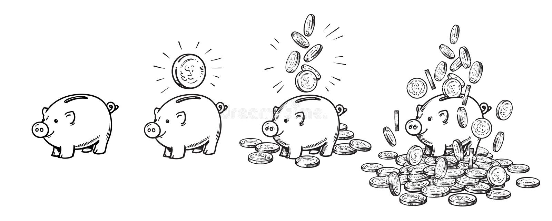 Ensemble de tirelire de bande dessinée Videz, avec une pièce de monnaie, avec les pièces de monnaie en baisse, grosses au-dessus  illustration libre de droits