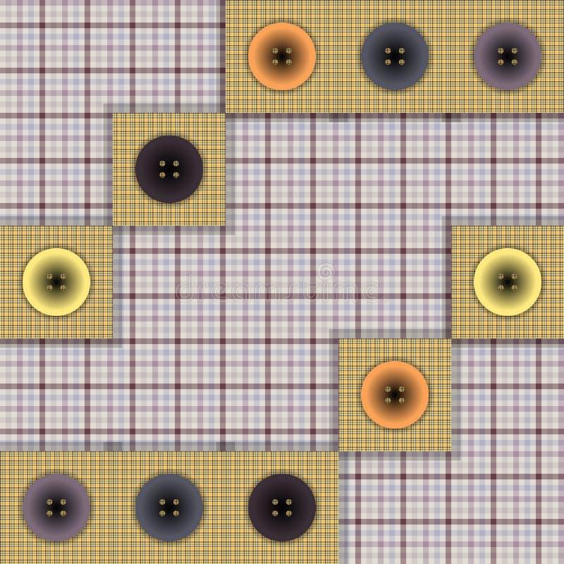 Ensemble de tissu avec des boutons illustration stock
