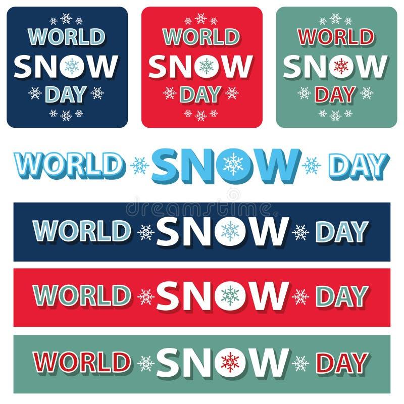 Ensemble de titre de jour de neige du monde Bannière, affiche illustration libre de droits