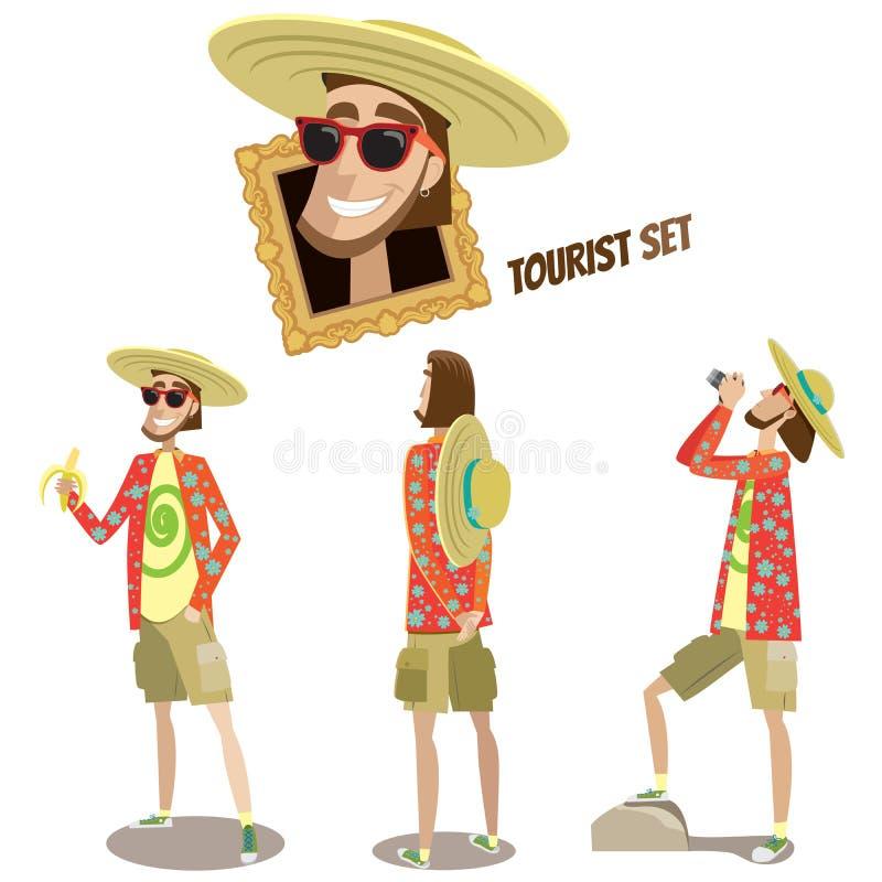 Ensemble de touristes illustration de vecteur