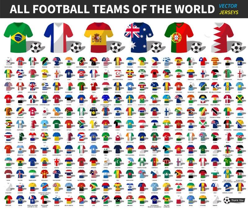 Ensemble de tout le débardeur d'équipe national du football ou du football de monde Mélange de drapeau de nation avec le style de illustration libre de droits