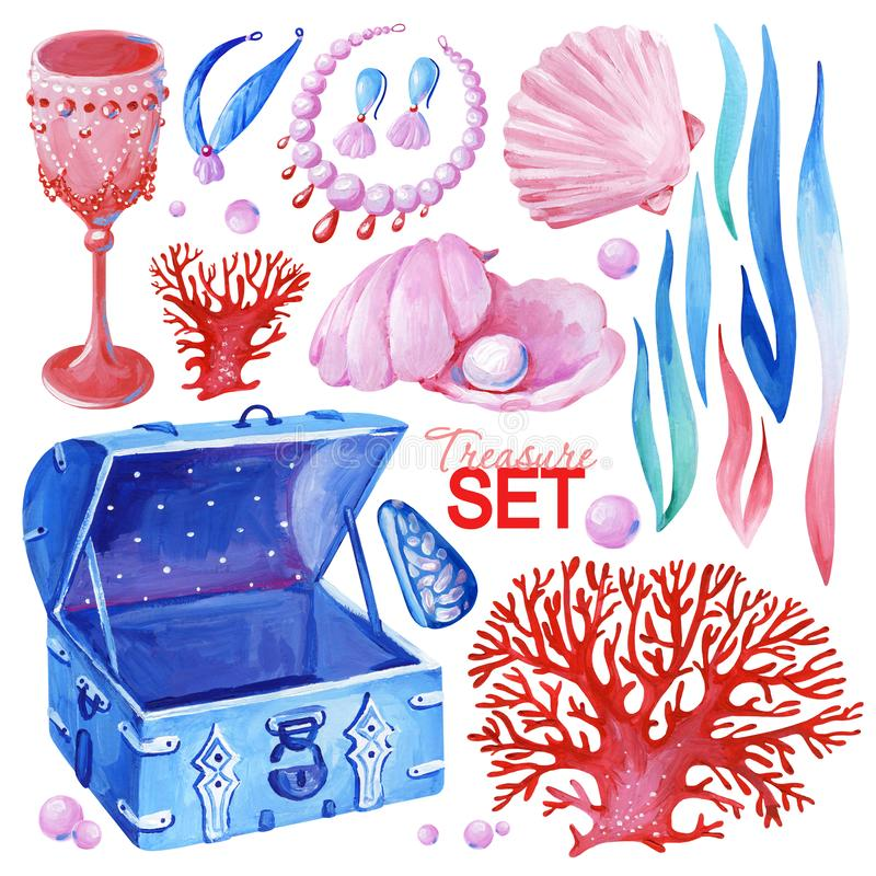 Ensemble de trésor d'océan de gouache Clipart tir? par la main pour l'oeuvre d'art et la conception de weddind illustration libre de droits