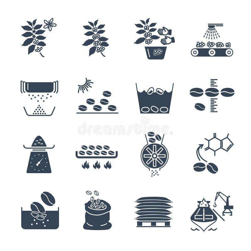 Ensemble de traitement noir de production de café d'icônes illustration stock