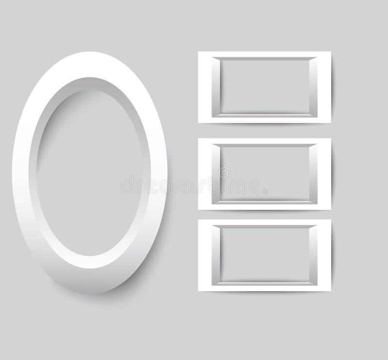 Ensemble de trames blanches de photo Dirigez la collection de cadres vides de photo sur un fond gris illustration libre de droits