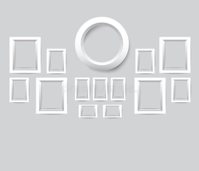 Ensemble de trames blanches de photo Dirigez la collection de cadres vides de photo sur un fond gris illustration de vecteur