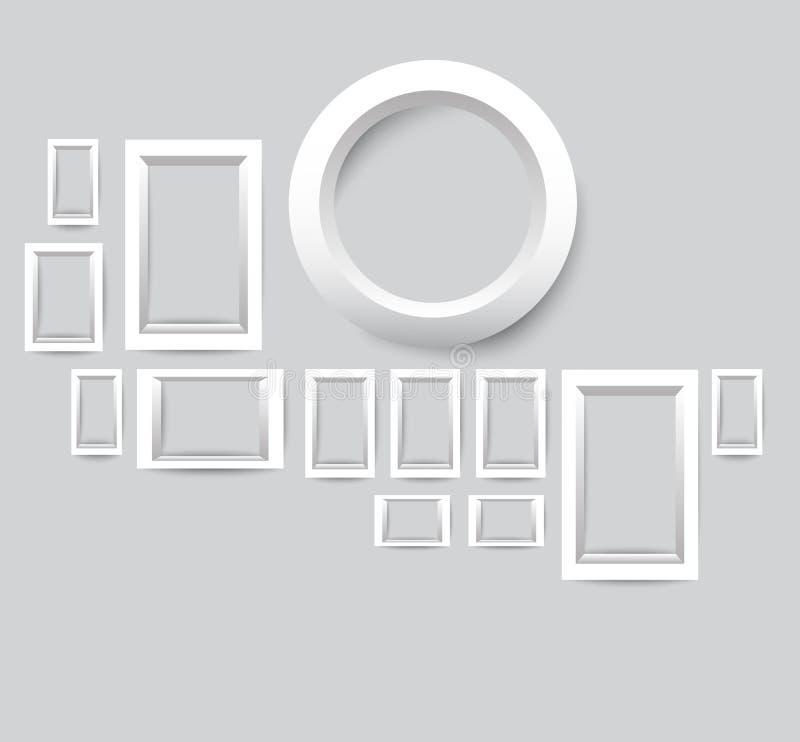 Ensemble de trames blanches de photo Dirigez la collection de cadres vides de photo sur un fond gris illustration stock