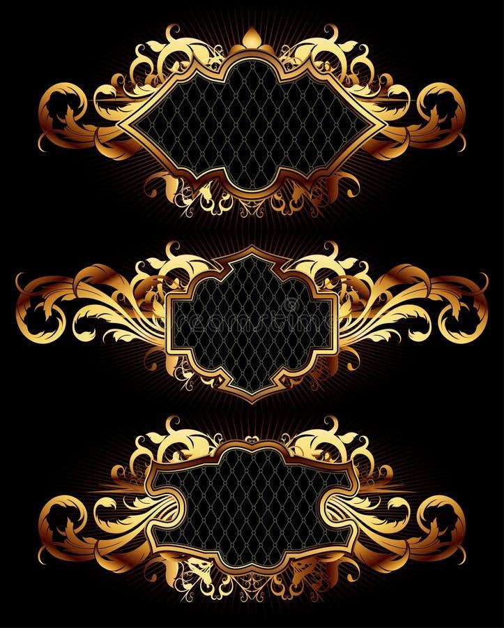 Ensemble de trames d'or illustration de vecteur
