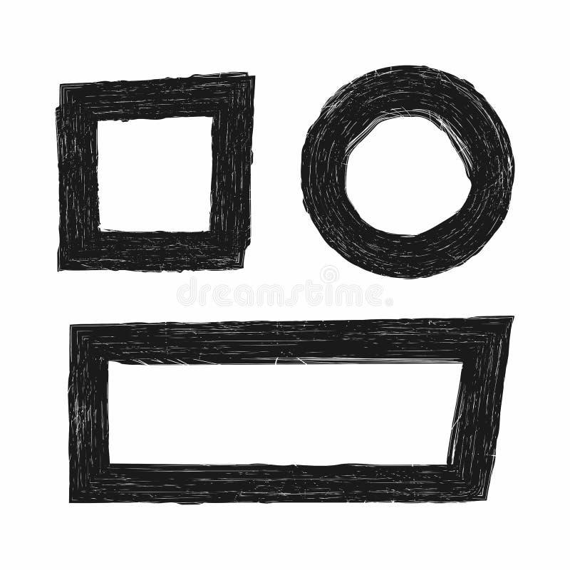 Ensemble de trames grunges Éléments ronds, carrés, rectangulaires Croquis, éraflures, peinture illustration stock