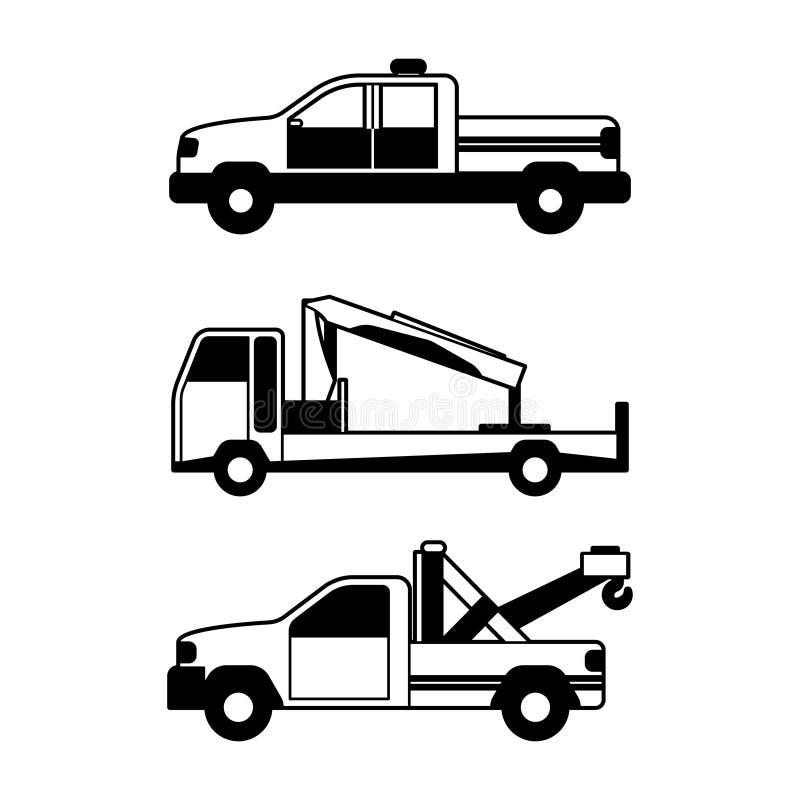 Ensemble de transport d'accidents dans la ligne conception de l'avant-projet de silhouette de style illustration de vecteur