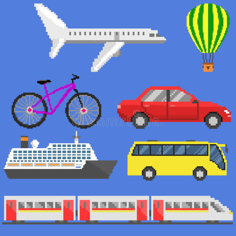 Ensemble de transport d'art de pixel illustration stock