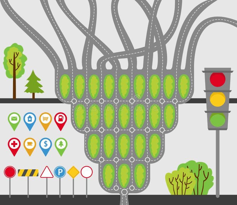 Ensemble de transport, jonctions de route, routes, panneaux routiers, signes, feux de signalisation, arbres et buissons Illustrat illustration stock