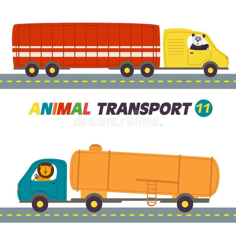 Ensemble de transports d'isolement avec la partie 11 d'animaux illustration stock