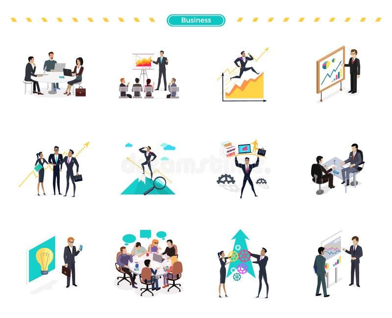 Ensemble de travail d'équipe de bannière d'affaires illustration stock